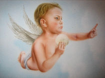 Another angel painted in trompe-l'oeil.