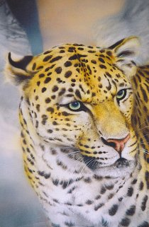 Detail of trompe-l'oeil: portrait of leopard.
