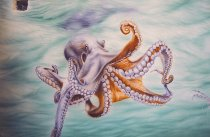Detail of trompe-l'oeil: octopus deploying its tantacules.