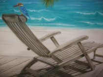 Detail of trompe-l'oeil:  deckchair out of wooden and Martin hunter.