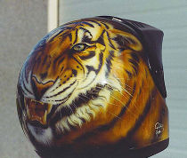 Personalized helmet: head of tiger seen of three quarter.