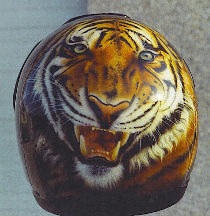Personalized helmet: head of tiger front view.