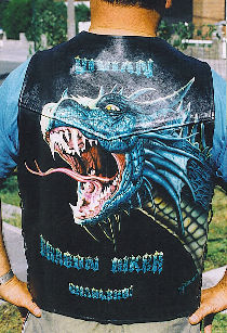 Head of dragon on leather jacket.