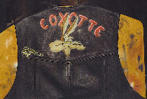 Goupil the coyotte on leather jacket.