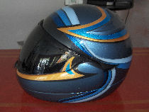 Linear creation on a helmet of motor bike personalized.
